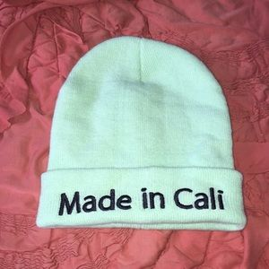 """Made In Cali"" Lime Green Beanie OS"
